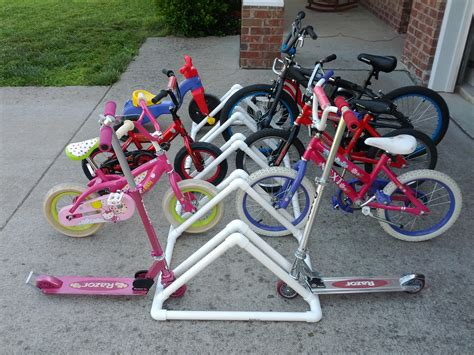 Make Bike Rack by Project 4 Diy Bike Rack Made From Pvc Pipe Hostess
