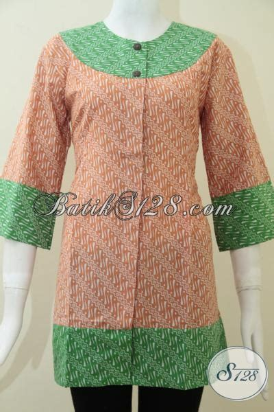 Baut L Kerucut Warna Hijau baju wanita batik kerja paduan warna hijau dan orange bls1175p l toko batik 2018