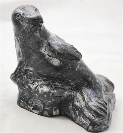 Soapstone Canada by Soapstone Seal Figurine Jolin Handcrafted Made In Canada