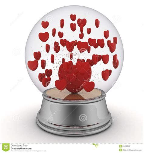 snow globe valentines snow globe with hearts royalty free stock photo