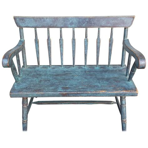 england bench new england pine spear back windsor bench in turquoise