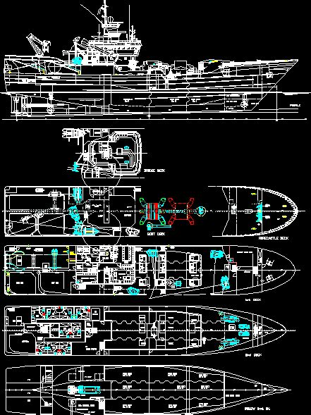 commercial fishing boat dwg plan  autocad designs cad