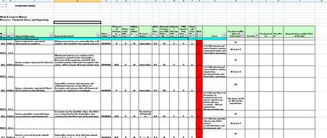 Controls Financial Reporting Template Controls Template Snapshots