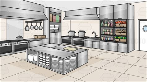 Cream White Kitchen Cabinets by A Kitchen Restaurant Background Cartoon Clipart Vector Toons