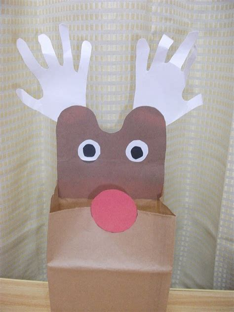 Paper Bag Craft - reindeer paper bag craft preschool education for