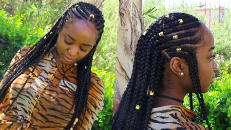 how to make fulani hairstyle fulani braids beads natural hair l k youtube