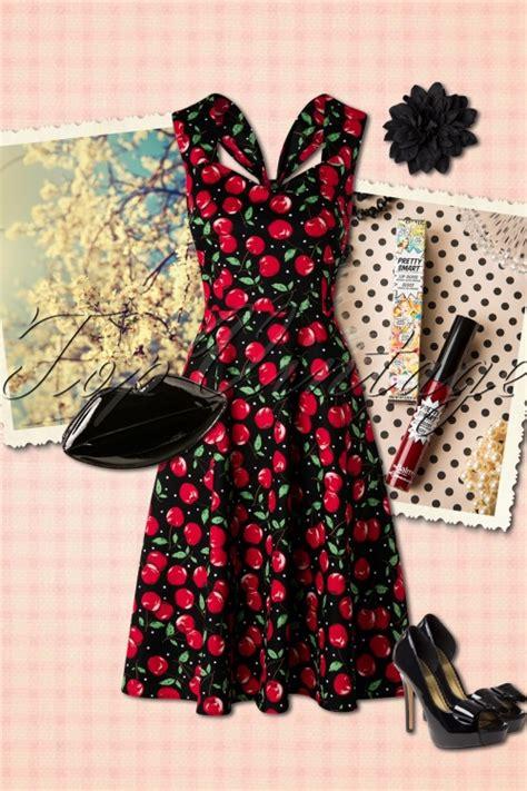 Swing Kleider Wien by 50s Vienna Cherry Dress In Black