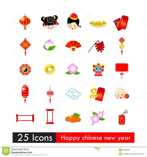 happy new year icons set of 25 icons happy new year with asia