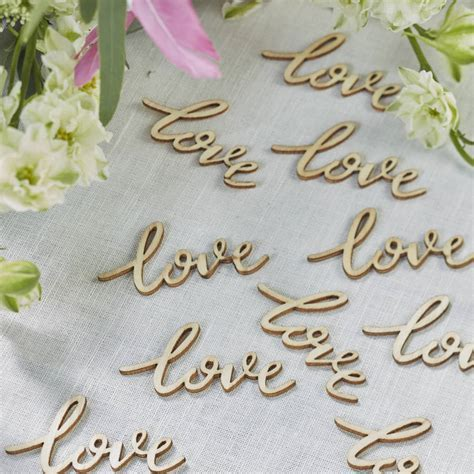 boho wooden 'love' wedding table confetti by ginger ray