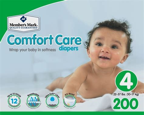 comfort care member s mark comfort care baby diapers size 4 200 ct
