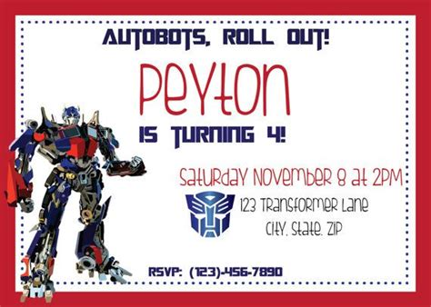 transformer invitation template transformers optimus prime or bumblebee by