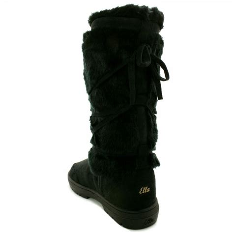 buy flat fur winter boots black suede style
