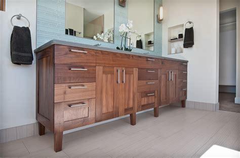 Walnut Vanity Transitional Bathroom Denver by Marc Hunter Woodworking Design