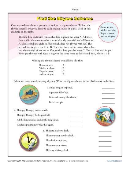 year 1 pattern and rhyme planning find the rhyme scheme poetry worksheets