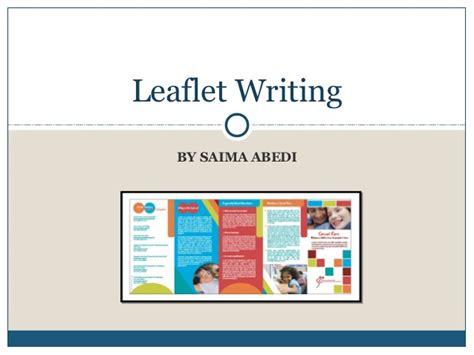 leaflet writing layout leaflet writing presentation