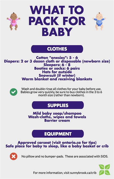 what to pack in hospital bag for baby c section checklists sunnybrook hospital