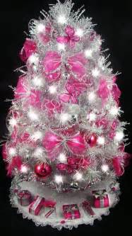 tabletop christmas tree hot pink fuchsia butterfly 21