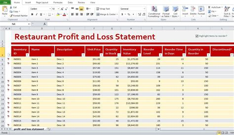 restaurant income statement template excel restaurant profit and loss statement template excel