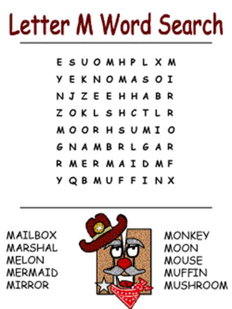 M Search For The Printable Alphabet Word Search