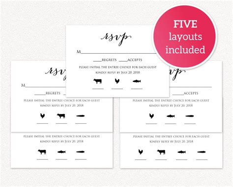 rsvp card template 6 per page rsvp card with meal icons templates 183 wedding templates