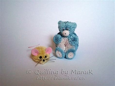 Quilling Mouse Tutorial | quilled mouse and teddy bear quilled 3d animal