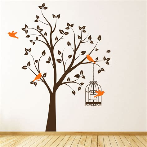 tree sticker wall decal beautiful tree with bird cage and flying birds wall sticker decal ebay