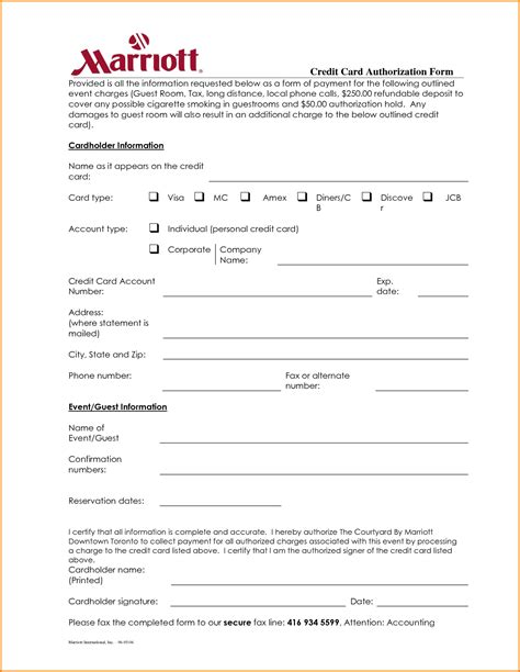 hotel credit card authorization form template 6 hotel credit card authorization form authorization letter