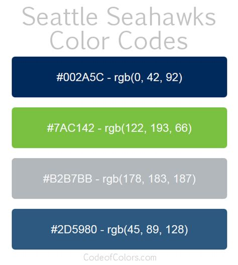 seattle seahawks team colors seattle seahawks colors hex and rgb color codes
