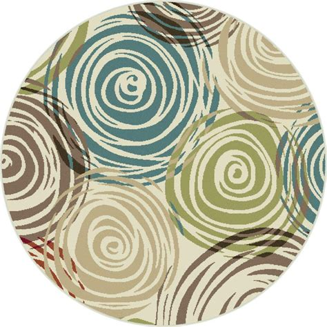 modern circular rugs tayse rugs deco ivory 5 ft 3 in contemporary area rug dco1016 6rnd the home depot