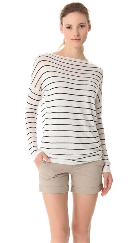 vince striped boatneck sweater vince striped boatneck sweater in white lyst