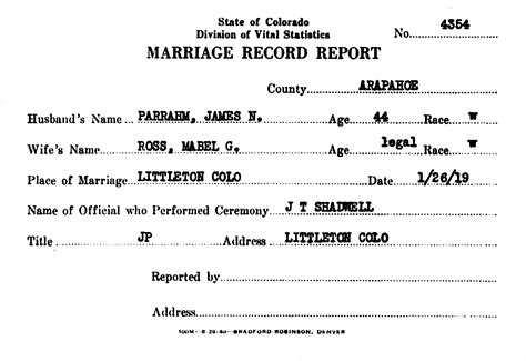 Arapahoe County Marriage Records William Burdine