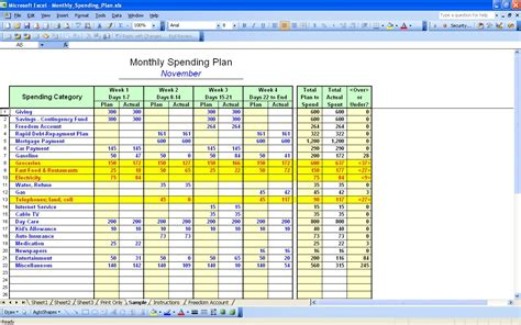 excel spreadsheet template for budget monthly expenses worksheet excel worksheet workbook site