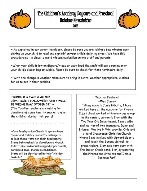 october preschool newsletter template cove the children s academy daycare and preschool