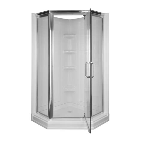 Glass Shower Door Kit Shop Aqua Glass 72 In H X 42 In W X 42 In L High Gloss White Neo Angle Corner Shower Kit At