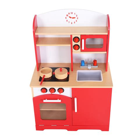 new wood kitchen cooking pretend play set toddler