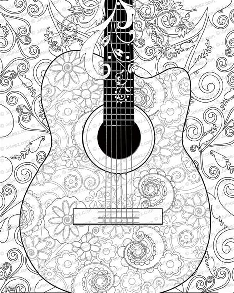guitar coloring pages for adults new guitar flowers adult coloring page printable adult guitar