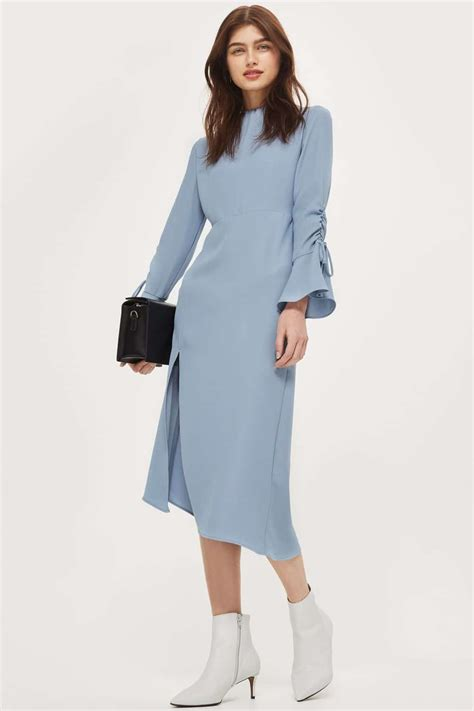 Dress Top Shop top shop high neck rouch midi chambray dress we select