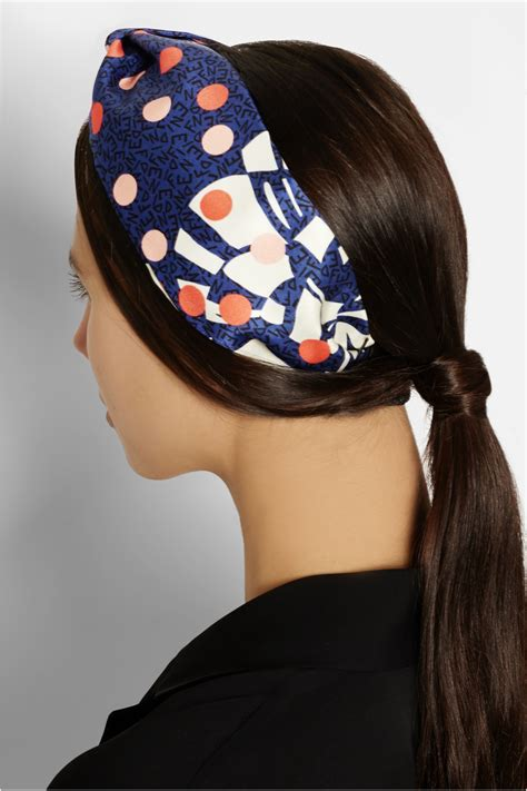 Fendi Tiara fendi printed silk and leather headband in blue lyst