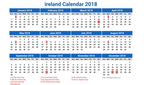 printable calendar ireland 2017 fresh holiday calendar ireland 2018 calendar