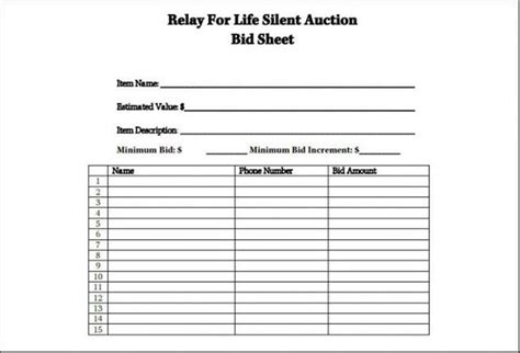 Free Printable Silent Auction Bid Sheets 1638 Searchexecutive Silent Auction Bid Sheet Template