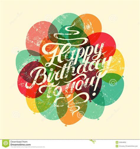 happy birthday typographical retro grunge birthday card