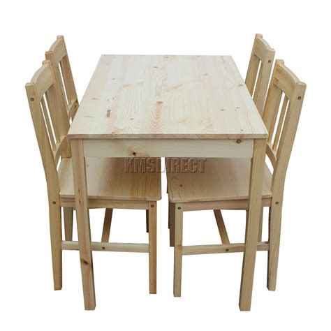 Wood Kitchen Table And Chairs Foxhunter Quality Solid Wooden Dining Table And 4 Chairs Set Kitchen Ds02 Pine Ebay