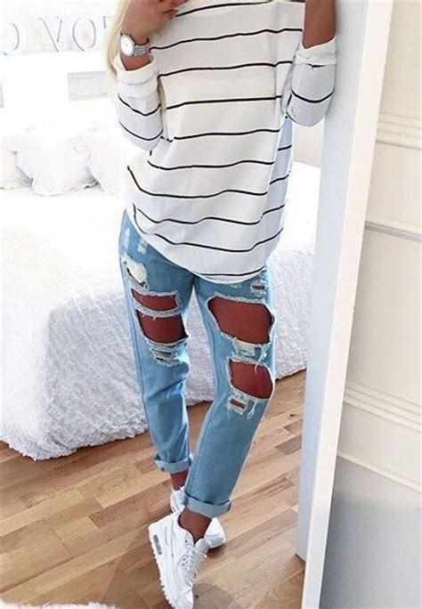 Bf Stripped Light Blue best 25 casual jean ideas on white