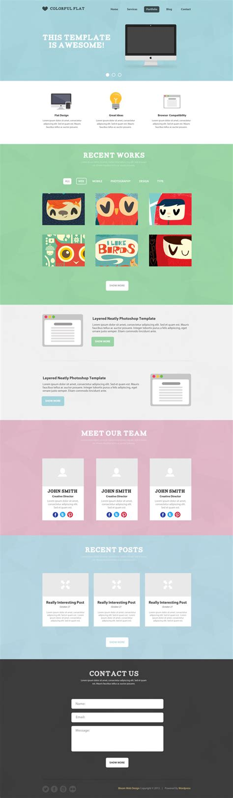 flat one page website template free layered psd file
