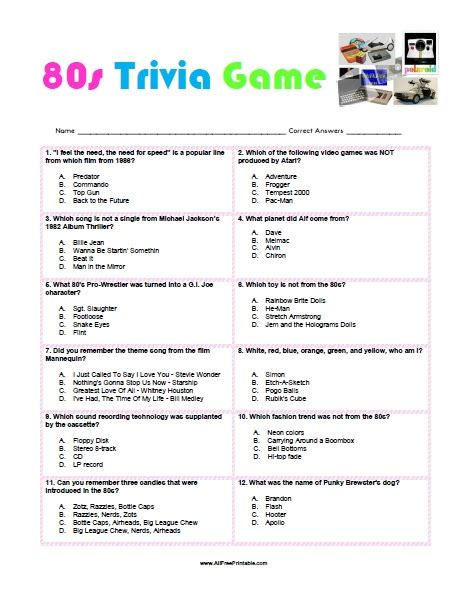 80s trivia game free printable allfreeprintable com
