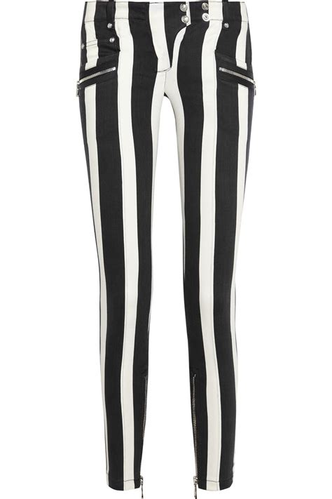 black and white patterned jeans lyst balmain striped low rise skinny jeans in white