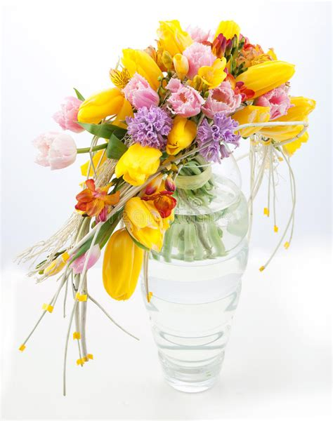 colorful spring flowers bouquet colorful bouquet of spring flowers in vase stock photo
