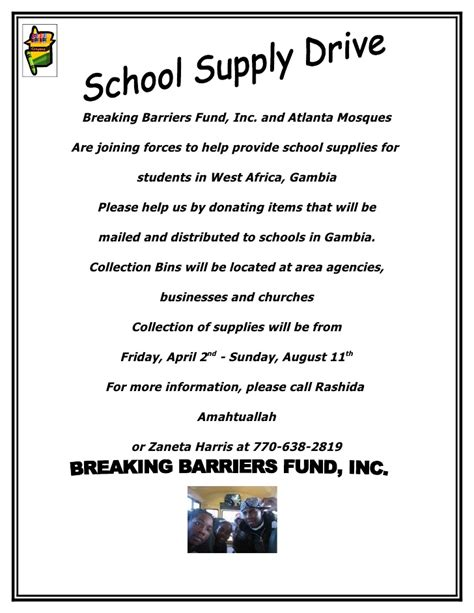 Fundraising Drive Letter School Supply Drive Flyer