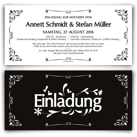 Hochzeitseinladungen Schwarz by Schwarz Wei 223 Hochzeitskarten Mit Eigenem Text