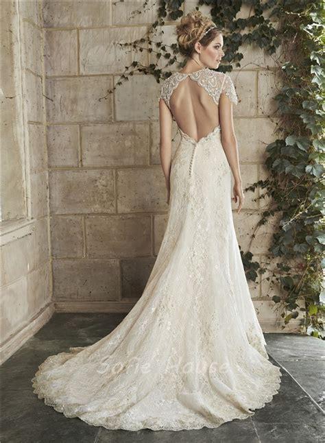 beaded cap sleeve wedding dress mermaid cap sleeve cut out backless chagne lace